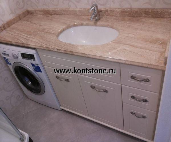 Раковина в ванную комнату со столешницей из натурального камня